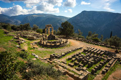 Ruins of an ancient greek temple of Apollo at Delphi, Greece Stock Image