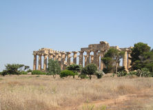 Ruins of ancient greek Temple of Hera in Selinunte Royalty Free Stock Photos