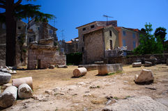 Ruins of Greek temple in Porec Stock Photos