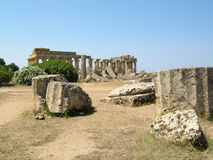 Ruins of an ancient greek temple in Selinunte Stock Photography