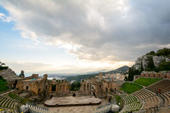 Ruins of the ancient greek theater of Taormina, Sicily the Etna Stock Photos