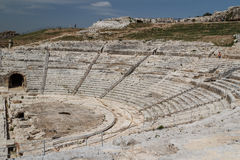 Ruins of the ancient Greek theatre in the historic centre. Of Syracuse, Sicily island, Italy Royalty Free Stock Images