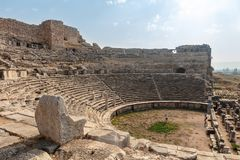 Theatre at the archaeological site of Miletus. stock images