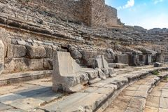Theatre at the archaeological site of Miletus. stock photography