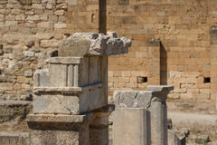 Ruins of the ancient Greek town Kameiros, Rhodes island Stock Photos