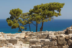 Ruins of the ancient Greek town Kameiros, Rhodes island Royalty Free Stock Image