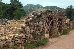Ruins of ancient Greek town of Olympos near Cirali, Turkey.  stock photo