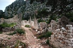 Ruins of ancient Greek town of Olympos near Cirali, Turkey.  royalty free stock photos