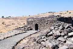 The ruins of the ancient Hebrew city Korazim Horazin, Khirbet Karazeh, destroyed by an earthquake in the 4th century AD, on the Stock Photography