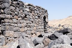 The ruins of the ancient Hebrew city Korazim Horazin, Khirbet Karazeh, destroyed by an earthquake in the 4th century AD, on the. Golan Heights in Israel Royalty Free Stock Photos