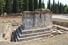 The ruins of the ancient Hierapolis city next to the travertine pools of Pamukkale, Turkey. Tomb. The famous tourist destination in Turkey Stock Images