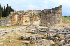 Ruins of ancient Hierapolis. Now Pamukkale, Turkey Royalty Free Stock Photos