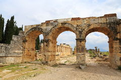 Ruins of ancient Hierapolis. Now Pamukkale, Turkey royalty free stock photography