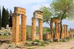 Ruins of ancient Hierapolis. Now Pamukkale, Turkey stock photo