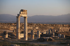 Ruins of ancient Hierapolis, Pamukkale, Turkey. Famous for its white travertine,Ruins of ancient Hierapolis, Pamukkale, Turkey royalty free stock images