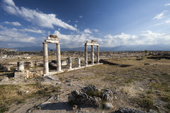 Ruins in ancient Hierapolis, Pamukkale, Turkey Stock Images