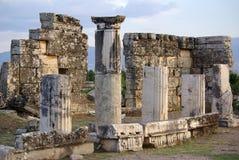 Ruins of ancient Hierapolis, Pamukkale. Turkey Stock Images