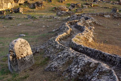 Ruins of ancient Hierapolis, Pamukkale. Turkey Royalty Free Stock Photo
