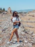 Hierapolis City Ruin in Turkey in Pamukkale. Stock Photo