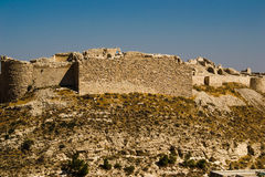Ruins ancient impressive castle on mountain. Shobak crusader fortress. Castle walls. Travel concept. Jordan architecture and attra Stock Images