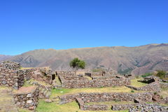 Ruins of the ancient inca town of Tipón, near to Cusco, Peru. Ruins of the Tipón city, part of the Inca empire, in the Cusco region, Peru Stock Image