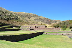 Ruins of the ancient inca town of Tipón, near to Cusco, Peru. Ruins of the Tipón city, part of the Inca empire, in the Cusco region, Peru royalty free stock photo