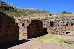 Ruins of the ancient inca town of Tipón, near to Cusco, Peru. Ruins of the Tipón city, part of the Inca empire, in the Cusco region, Peru royalty free stock photography