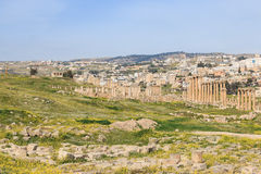 Ruins of the ancient Jerash, the Greco-Roman city of Gerasa in modern Jordan Stock Photos