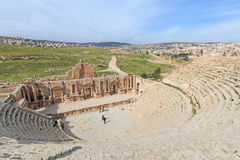 Ruins of the ancient Jerash, the Greco-Roman city of Gerasa in modern Jordan Stock Images