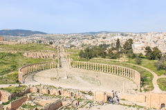 Ruins of the ancient Jerash, the Greco-Roman city of Gerasa in modern Jordan Royalty Free Stock Photography