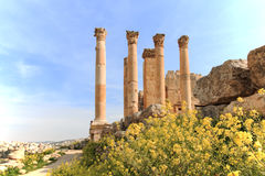 Ruins of the ancient Jerash, the Greco-Roman city of Gerasa in modern Jordan. Amman, Jordan - March 23,2015: Ruins of the ancient Jerash, the Greco-Roman city of Royalty Free Stock Photos
