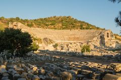 Ruins of the ancient theater. Efes. Ruins of an ancient large theater, from far view. Efes. Turkey royalty free stock images