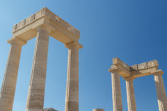Ruins of the ancient Lindos acropolis on Rhodes island Royalty Free Stock Photo
