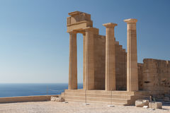 Ruins of the ancient Lindos acropolis on Rhodes island Stock Images