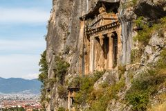 Ruins of the ancient Lycian town Telmessos in modern Fethiye royalty free stock images