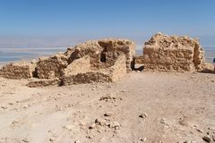 Ruins of ancient Masada fortress on Dead Sea Stock Photography
