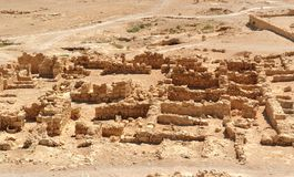 Ruins of ancient Masada fortress in the desert Royalty Free Stock Photos