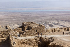 Ruins of ancient Masada fortress. Israel. Famous ruins of ancient Masada fortress - one of the most visited places in country. Israel stock photos