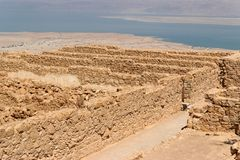 Ruins of ancient Masada fortress nea Stock Photos