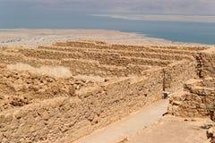 Ruins of ancient Masada fortress nea Stock Photos