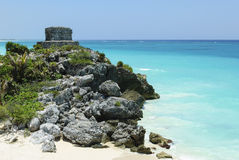 Ruins of an ancient Mayan building seaside Stock Image