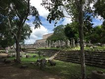 The Ruins of Ancient Mayan Buildings:  Chichenitza Stock Image