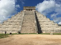 The Ruins of Ancient Mayan Buildings:  Chichenitza. Considered one of the seven wonders of the modern world.  The ancient mayan ruins  of Chichenitza are Royalty Free Stock Image