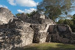 The ruins of the ancient Mayan city of Becan, Campeche, Mexico royalty free stock images