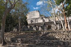The ruins of the ancient mayan city of becan, campeche, mexico stock images