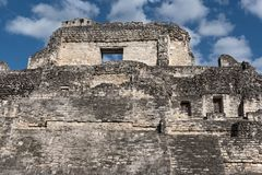 The ruins of the ancient Mayan city of Becan, Campeche, Mexico royalty free stock photography