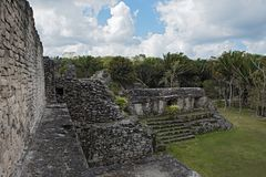The ruins of the ancient Mayan city of Kohunlich, Quintana Roo, Mexico.  Stock Photography