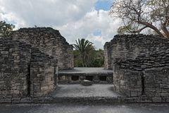 The ruins of the ancient Mayan city of Kohunlich, Quintana Roo, Mexico.  Royalty Free Stock Photos