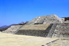 Ruins of ancient mayan pyramid, Xochicalco, Mexico royalty free stock image