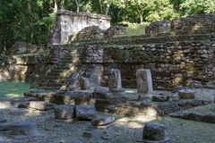 Ruins of the ancient Mayan town Topoxte. On the island of the same name, Guatemala royalty free stock photo